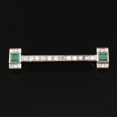 Art Deco 800 Silver Emerald and Diamond Brooch
