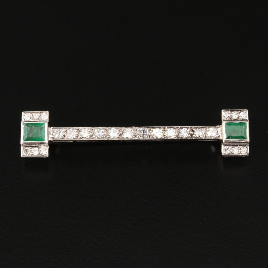 Art Deco 800 Silver Emerald and Diamond Brooch