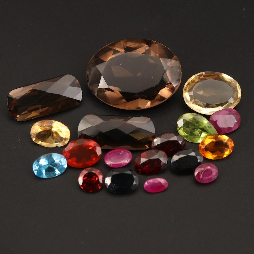Loose 37.10 CTW Ruby, Sapphire, Smoky Quartz and Additional Gemstones