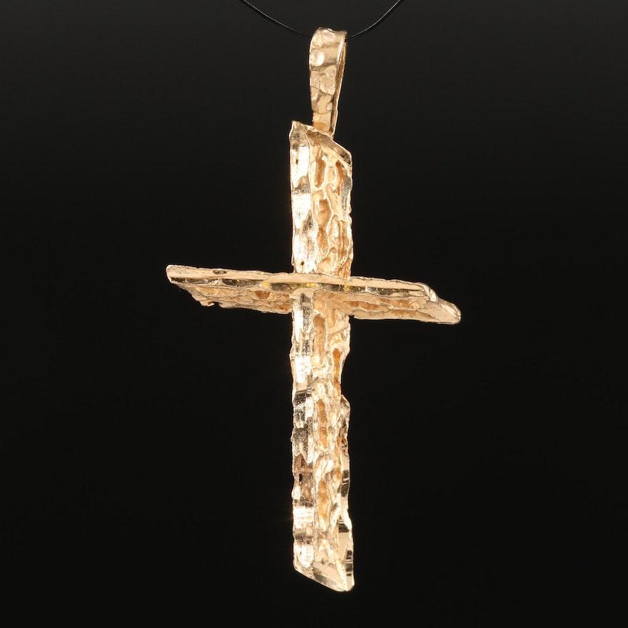 14K Textured Cross Pendant