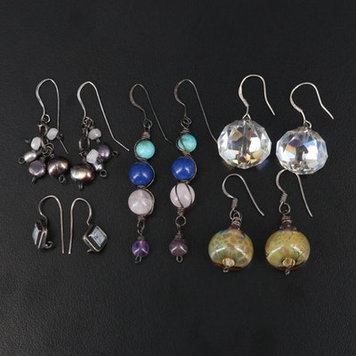 Sterling Silver Dangle Earring Selection Featuring Pearls, Topaz and Rose Quartz