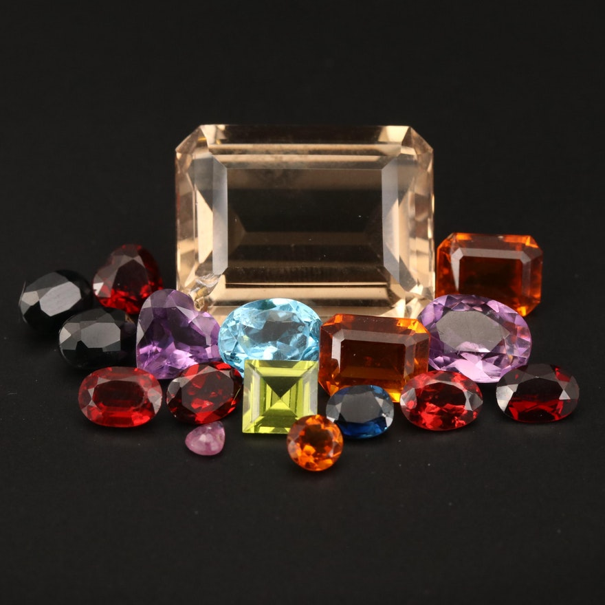 Loose 52.82 CTW Madeira Citrine, Sapphire, Garnet and Additional Gemstones