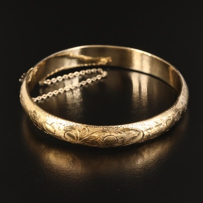 Sterling Engraved Pattern Hinged Bangle