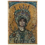 """Suzanne Fisher Mixed Media Mosaic """"The Empress Theodora,"""" 1994"""