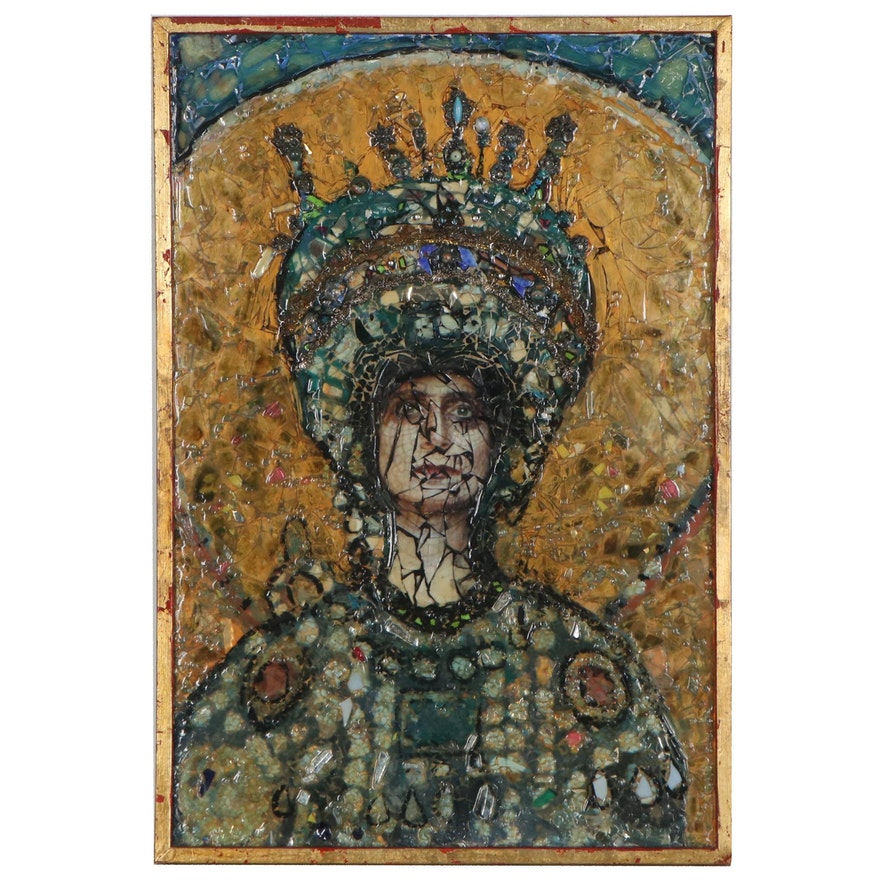 "Suzanne Fisher Mixed Media Mosaic ""The Empress Theodora,"" 1994"