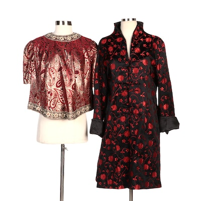 Chinoiserie Black/Red Floral Evening Jacket with Paisley Metallic Brocade Top