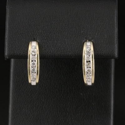 10K Channel Set Diamond Earrings