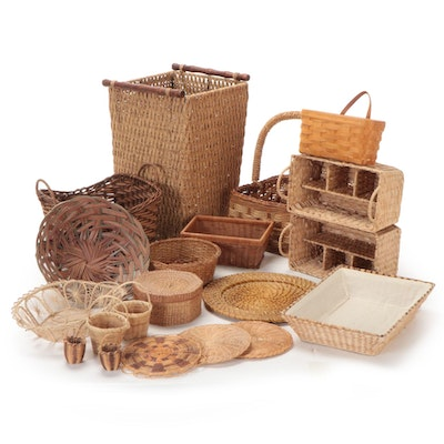 Longaberger Handwoven Wall Pocket Basket and Other Assorted Woven Baskets
