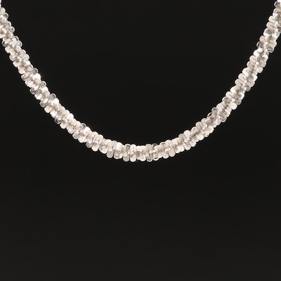 Italian Milor Sterling Tinsel Chain Necklace with Adjustable Slide