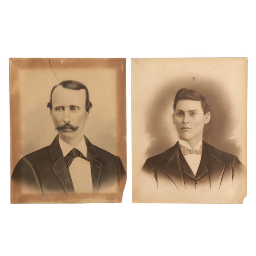 Crayon Portraits of Men, Late 19th Century