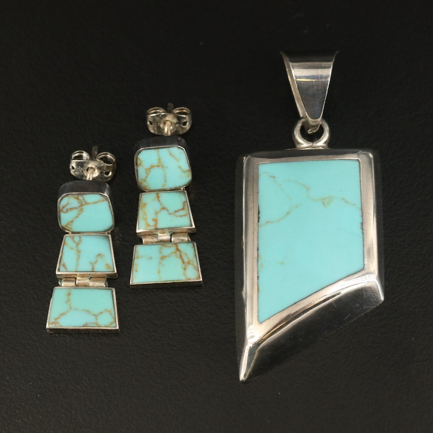 Mexican Sterling Howlite Inlay Pendant and Earrings