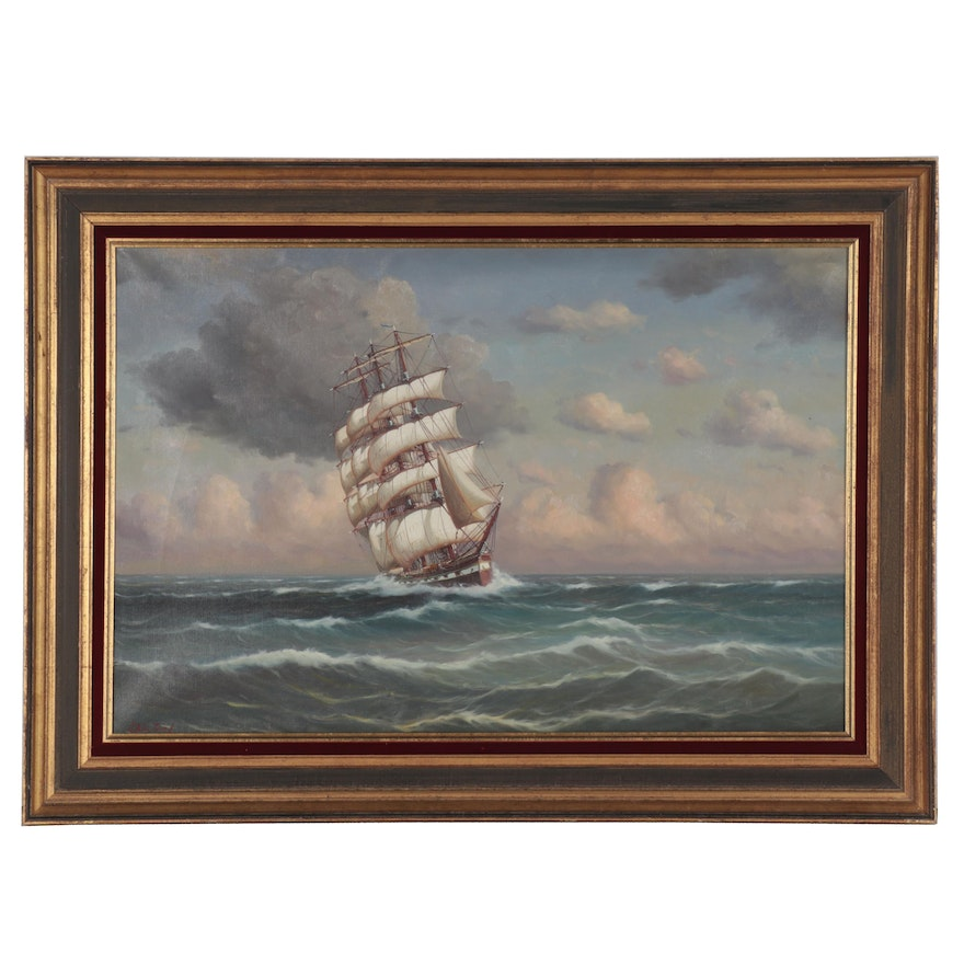 J. Winfried Oil Painting of Clipper Ship at Sea, Late 20th Century