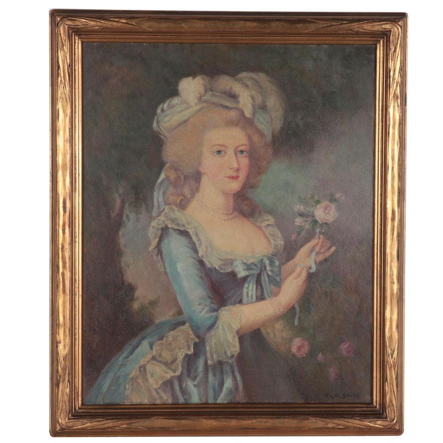 Frederick Carl Smith Oil Portrait of Marie Antoinette after Vigee-Lebrun