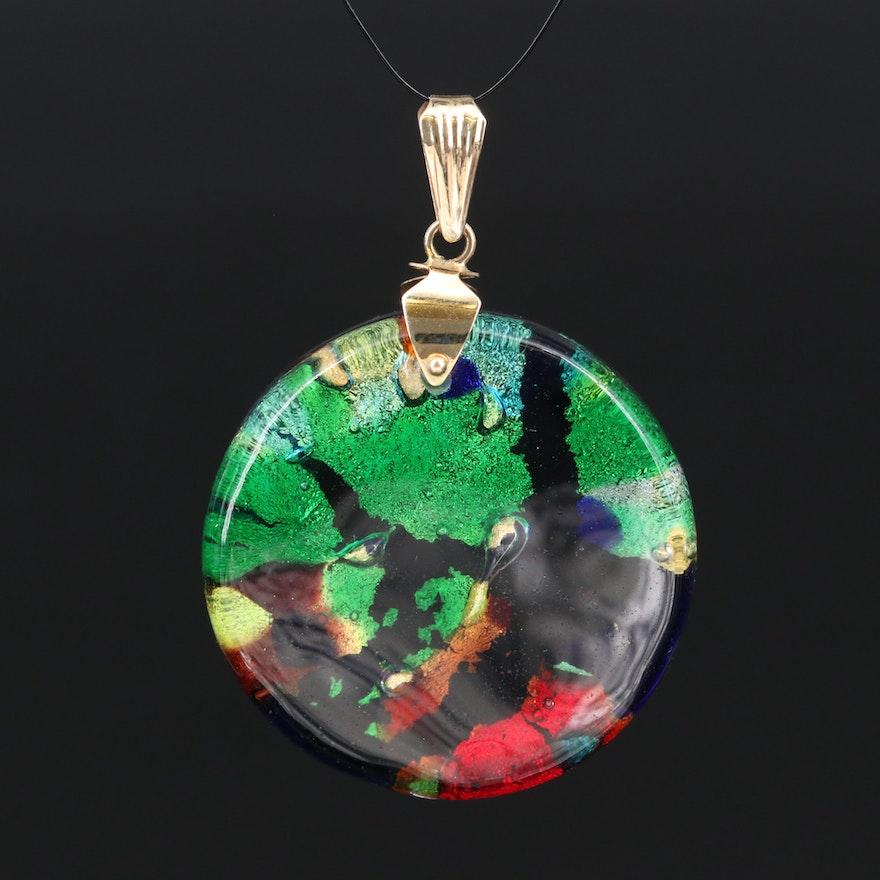 Italian 14K Dichroic Glass Pendant