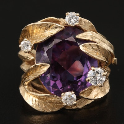 1950s 14K Sapphire and Diamond Foliate Ring