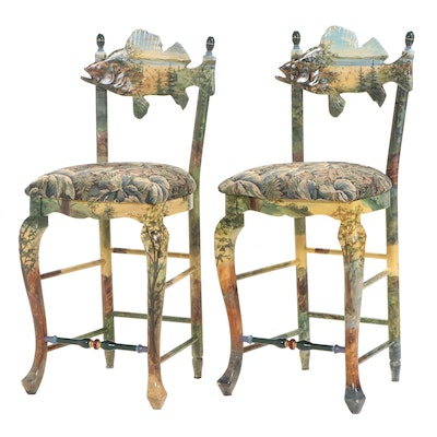 "Pair of MacKenzie-Childs ""Forest Fish"" Hand-Painted Maple Frame Counter Stools"