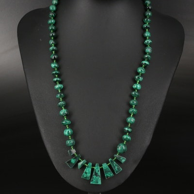 Malachite and Green Glass Bead Necklace