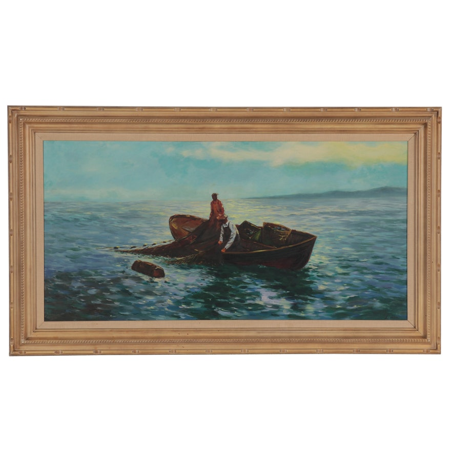 Oil Painting of Fishermen at Sea, Late 20th Century