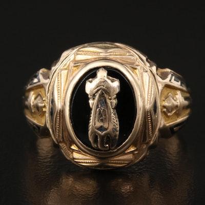 1940s 10K Black Onyx Signet Ring