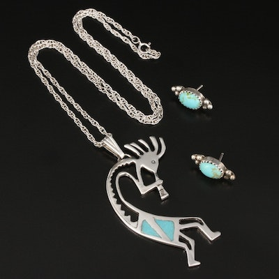 Southwestern Turquoise Earrings and Kokopelli Necklace