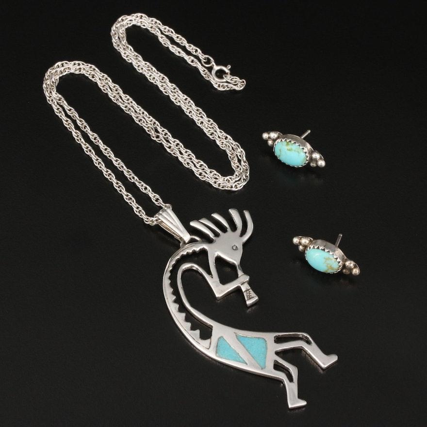 Southwestern Turquoise Earrings and Kokopelli Necklace