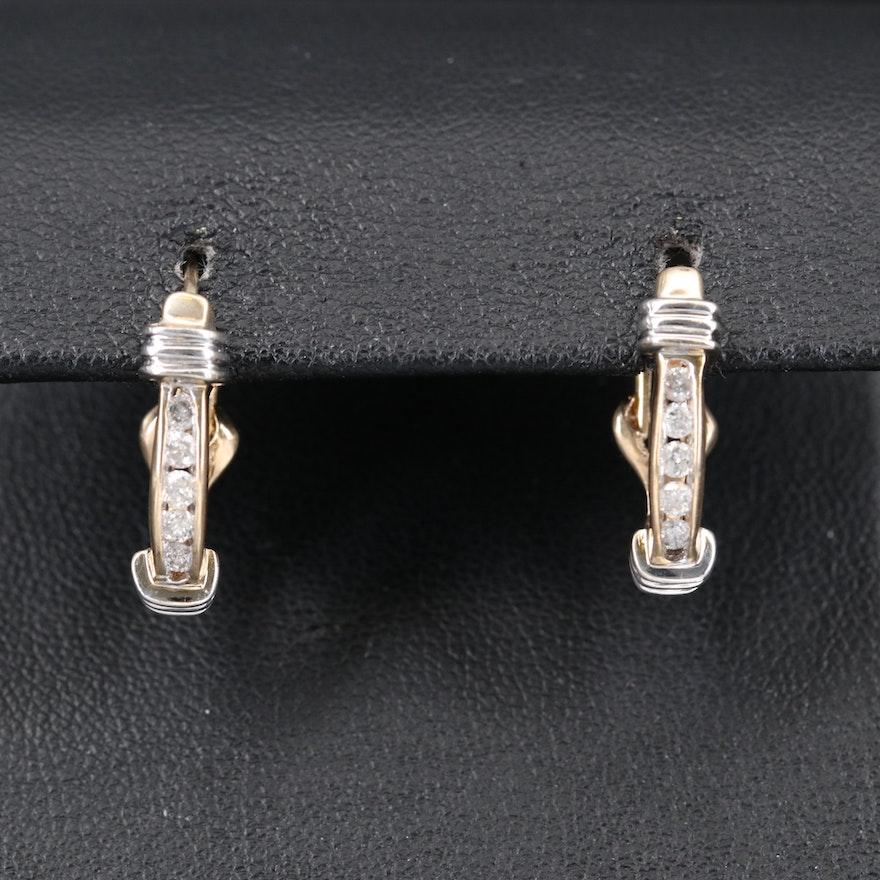 14K Channel Set Diamond J Hoop Earrings