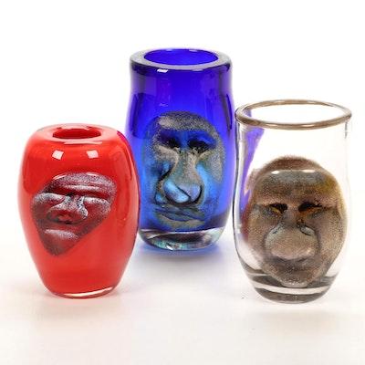 Andy Hudson Handblown Art Glass Face Vases, 2009