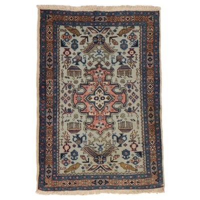 2'5 x 3'7 Hand-Knotted Persian Ardabil Pictorial Rug, 1950s