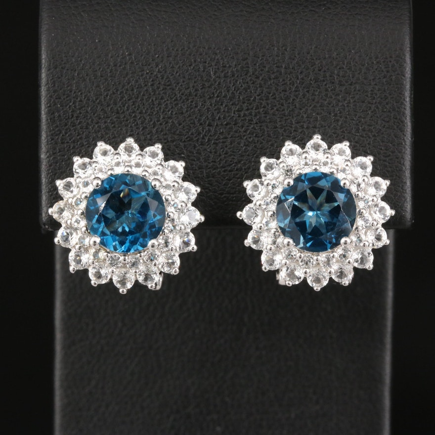 Sterling London Blue Topaz Halo Earrings
