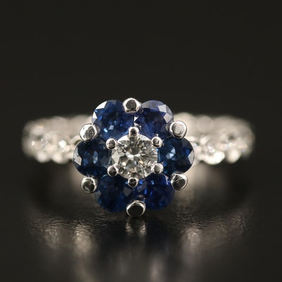 Gregg Ruth 18K Sapphire and Diamond Flower Ring
