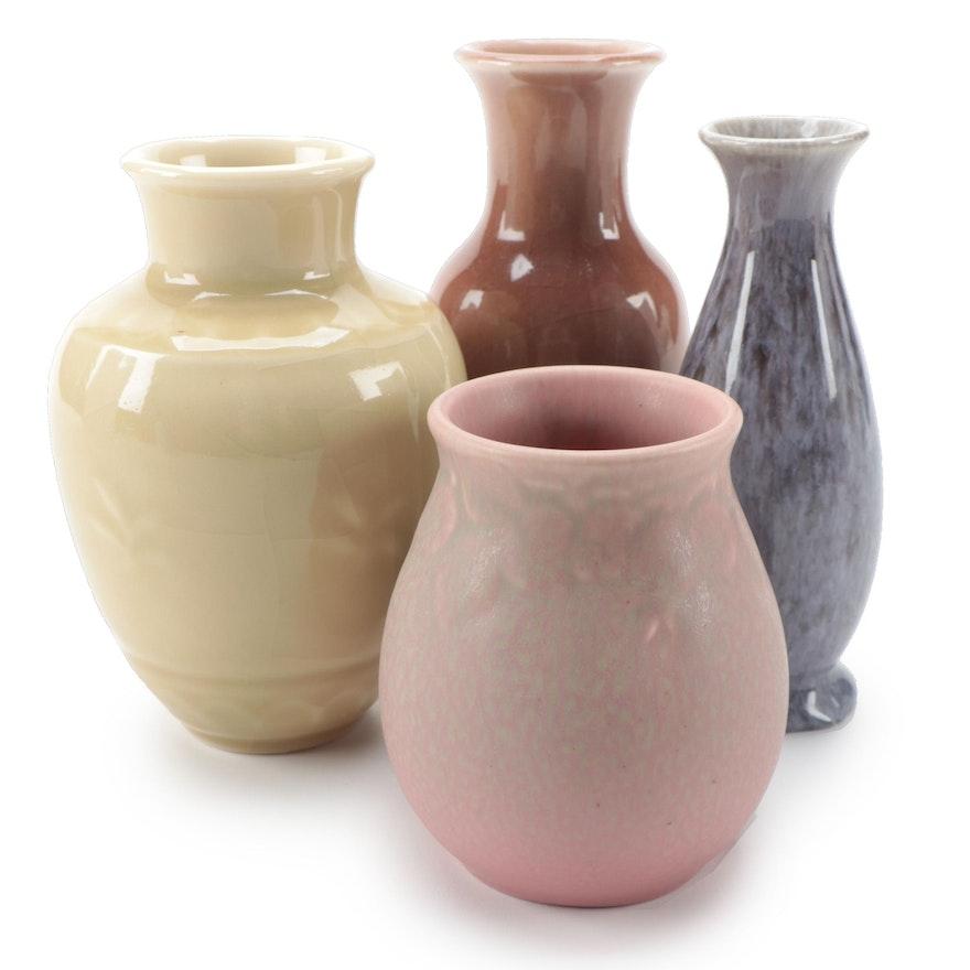 Rookwood Green to Pink Matte Glaze Ceramic Vase with Other Rookwood Vases
