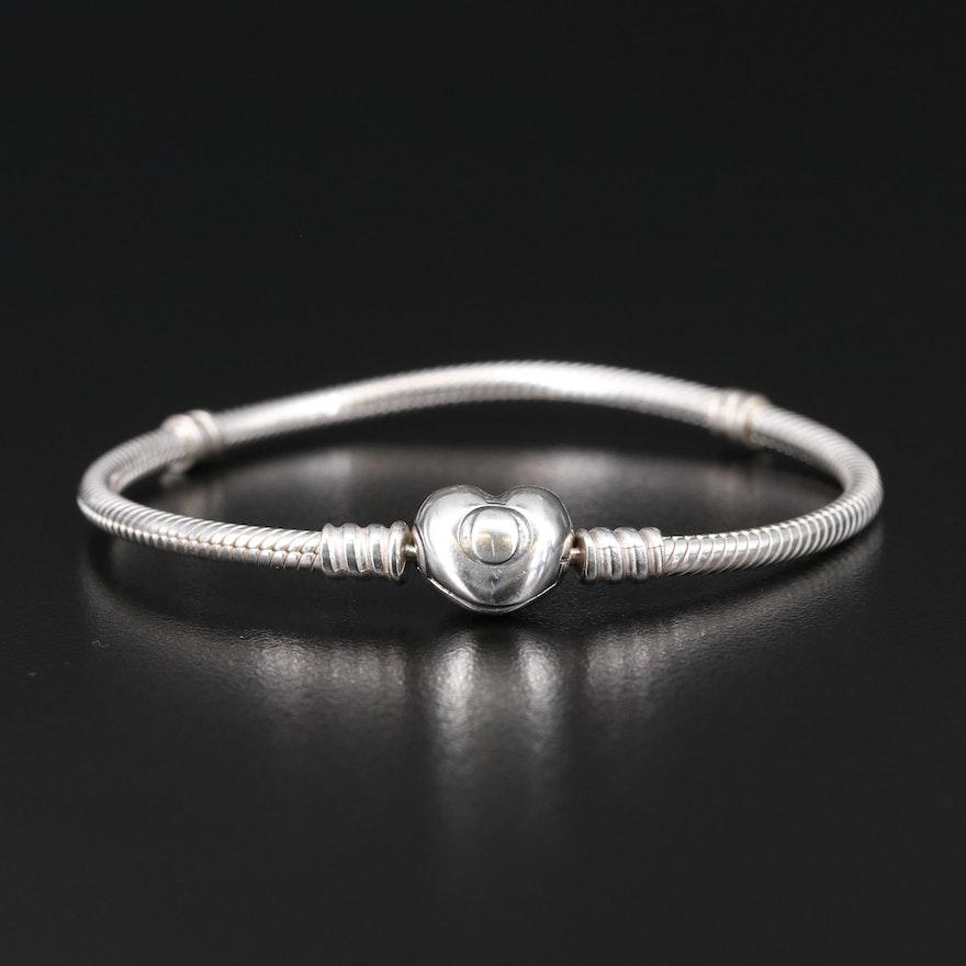 Pandora Sterling Silver Snake Charm Bracelet with Heart Clasp