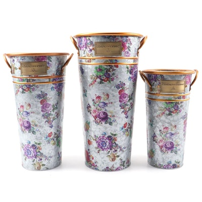 """MacKenzie-Childs """"Market Flower"""" Galvanized Metal Flower Buckets"""