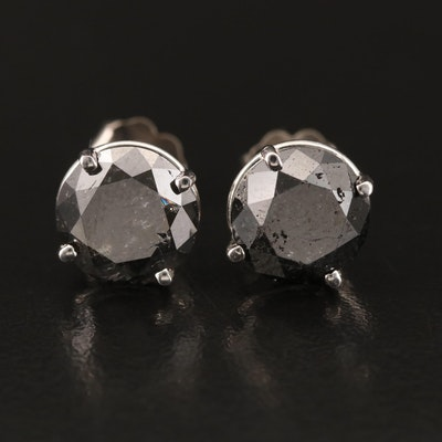 14K 5.22 CTW Black Diamond Stud Earrings