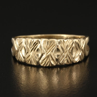 Turkish 14K Tapered Band with Foliate Pattern