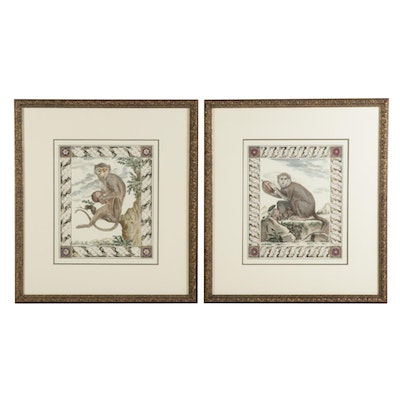 Hand-Colored Lithographs of Monkeys