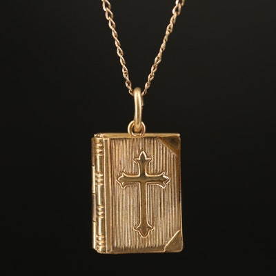 Vintage Gold-Filled Lord's Prayer Book Locket Necklace