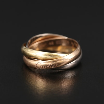 "Cartier ""Trinity"" 18K Tri-Color Ring"