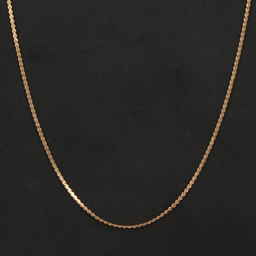 14K Serpentine Chain Necklace