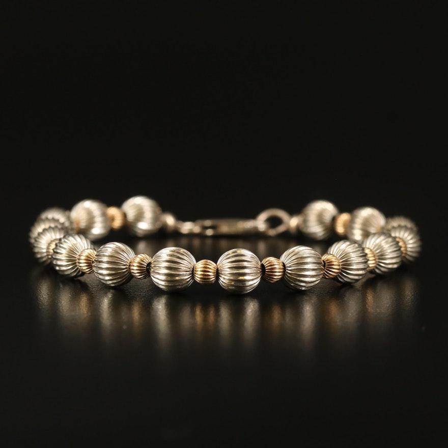 Sterling Fluted Bead Bracelet