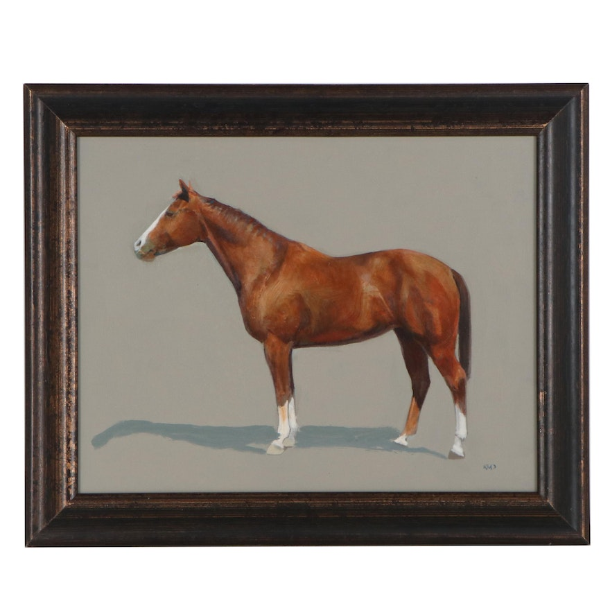 Kenneth M. Daly Equine Oil Painting, 21st Century