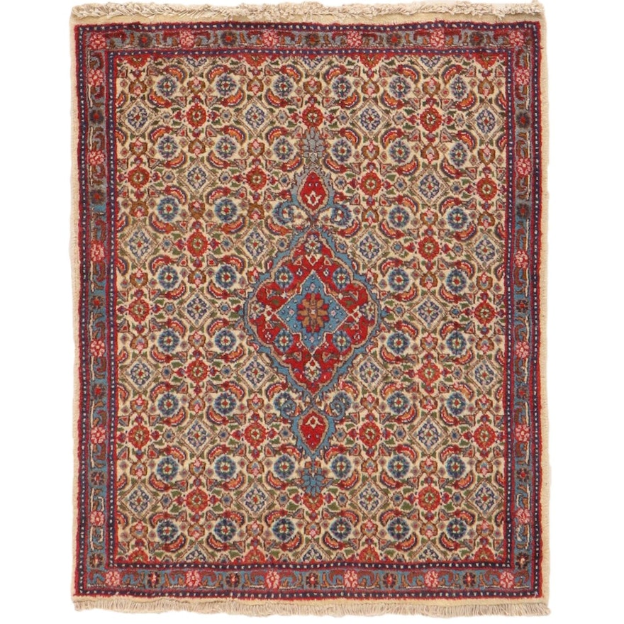 2'6 x 3'2 Hand-Knotted Persian Moud Khorasan Rug, 1970s