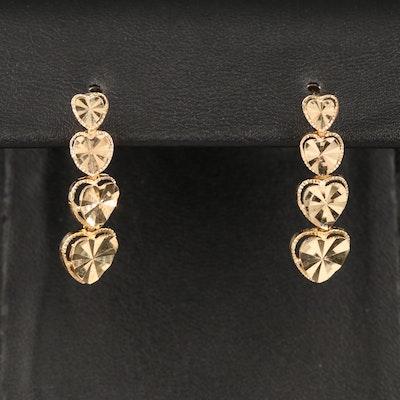 Beverly Hills Gold 14K Tiered Heart Earrings