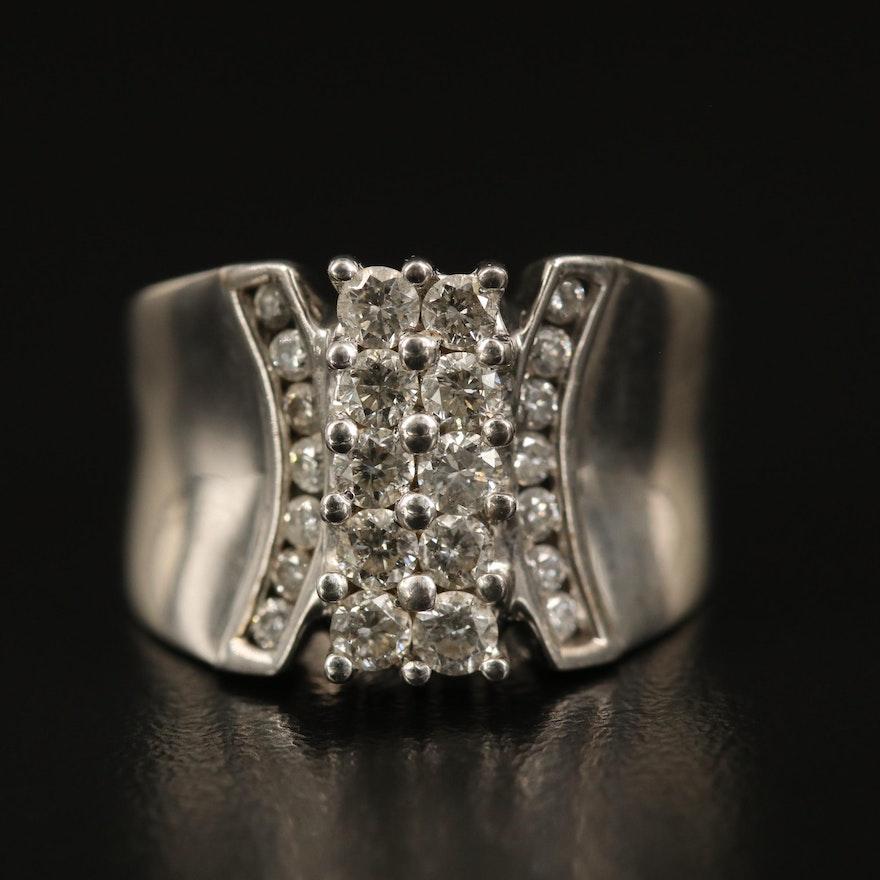 14K Diamond Double Row Ring