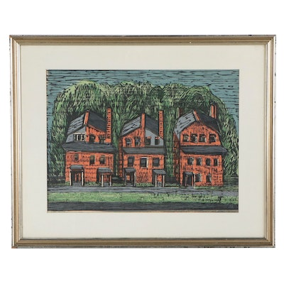 "Mildred Dillon Woodcut ""Little Red Row"""