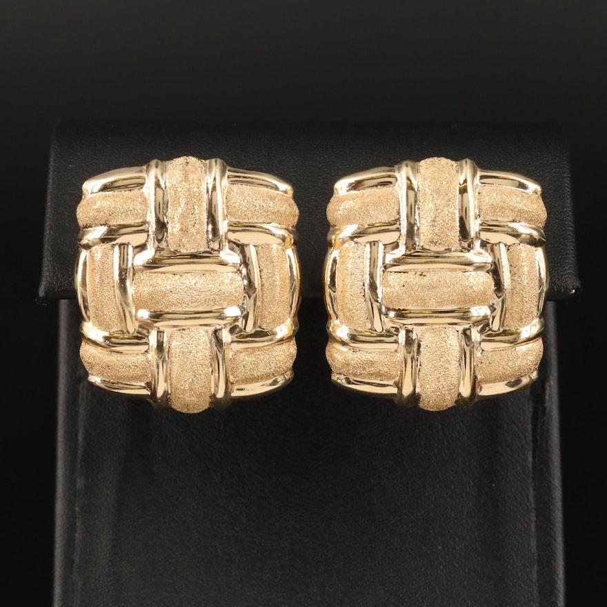 14K Woven Style Earrings
