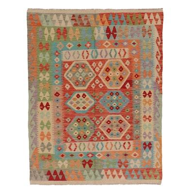 4'11 x 6'6 Handwoven Afghan Kilim Wool Area Rug