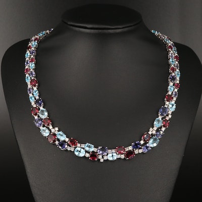 18K Graduated Necklace with 2.34 CTW Diamonds Rhodolite Garnet, Topaz and Iolite