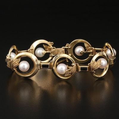 Vintage Mikimoto 14K Pearl and Black Onyx Link Bracelet