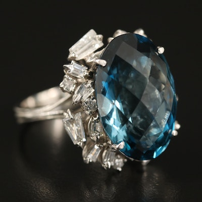 18K 30.00 CT London Blue Topaz and 1.98 CTW Diamond Statement Ring